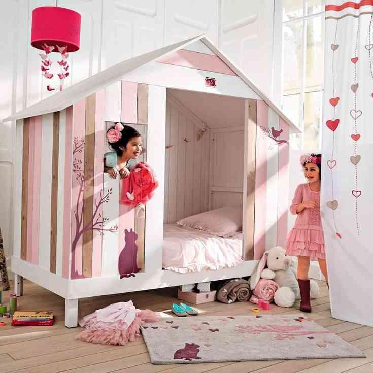 muebles infantiles de diseño cama caseta rosa maisons