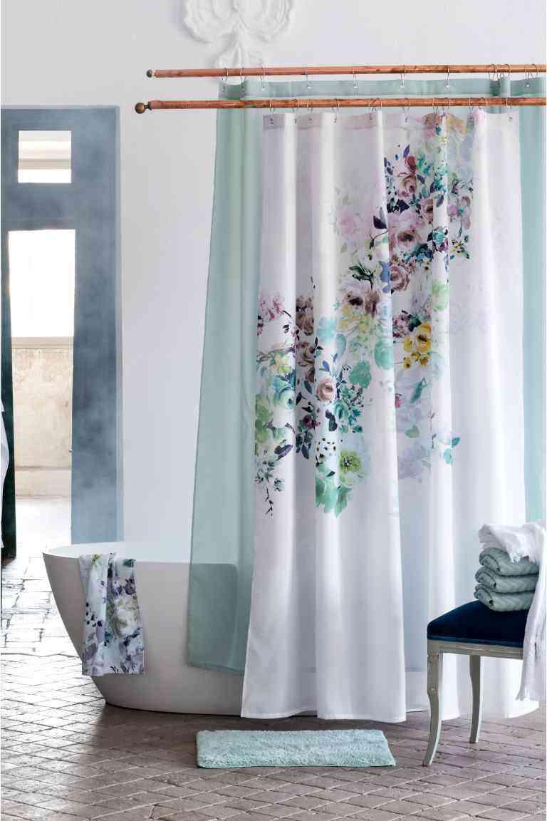cortinas de baño originales hm flores blanco