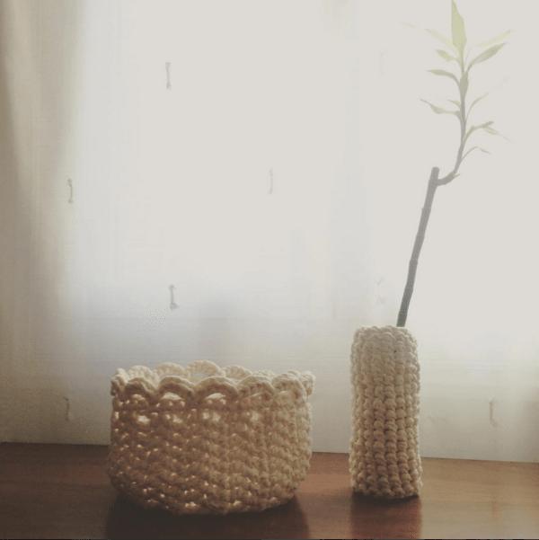 manualidades con trapillo - jarrones y cestas