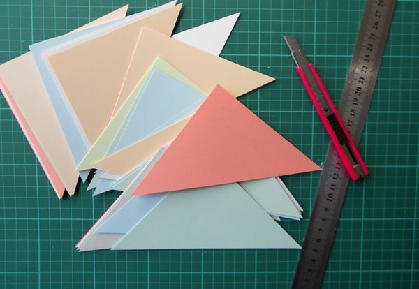 ideas para decorar las paredes panel triangulos cortar