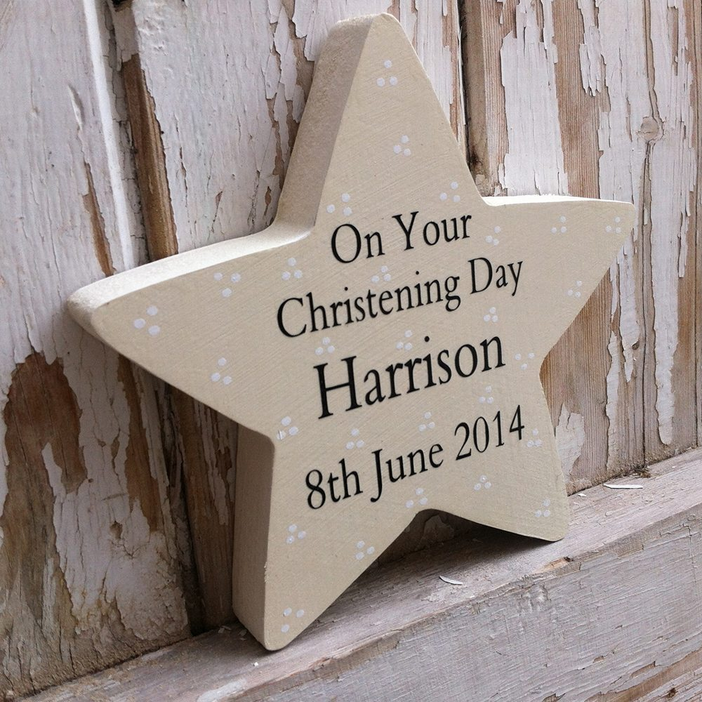 ideas para decorar un bautizo Freestanding Personalised Wooden Star Ivory
