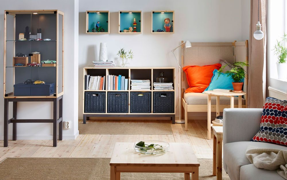 salon ordenado Ikea almacenaje