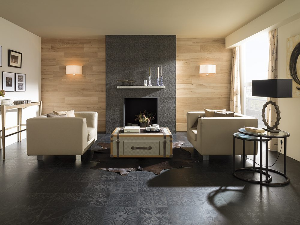 chimeneas de salon Porcelanosa_Serie Antique
