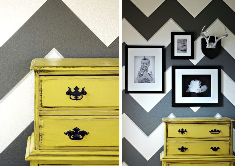 decoracion moderna con rayas amarillo makely con mueble
