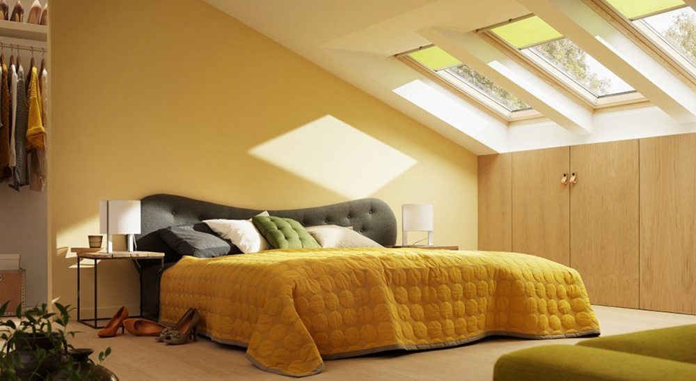 decorar la buhardilla bedroom amarillo velux