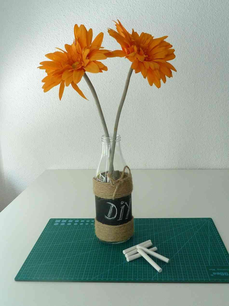 decorar botellas de cristal para en floreros