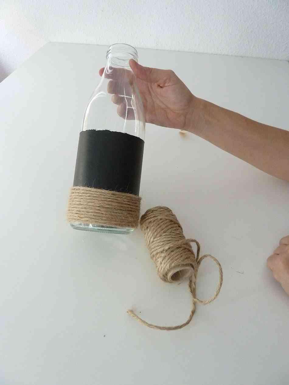 decorar una botella cuerda ok