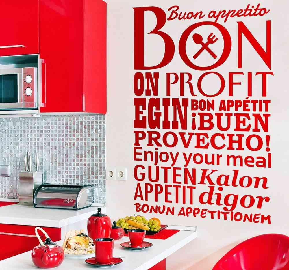 decorar las paredes tenvinilo cocina rojo