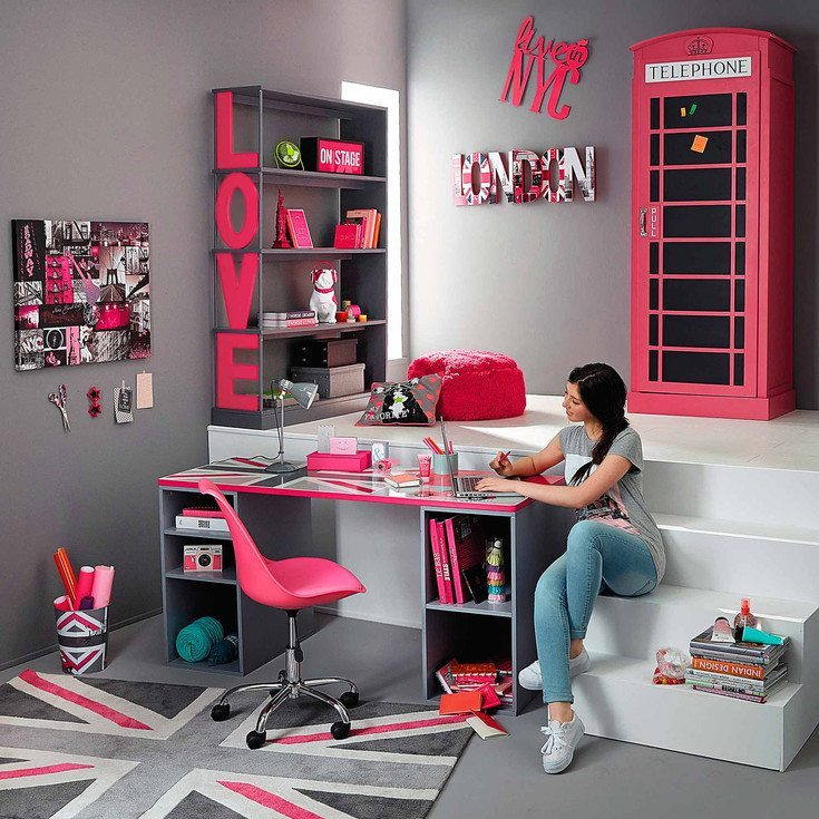 decorar juveniles union jack rosa