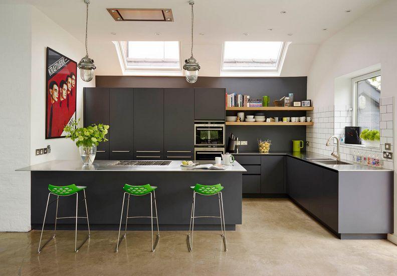 cocina de estilo nórdico en color gris