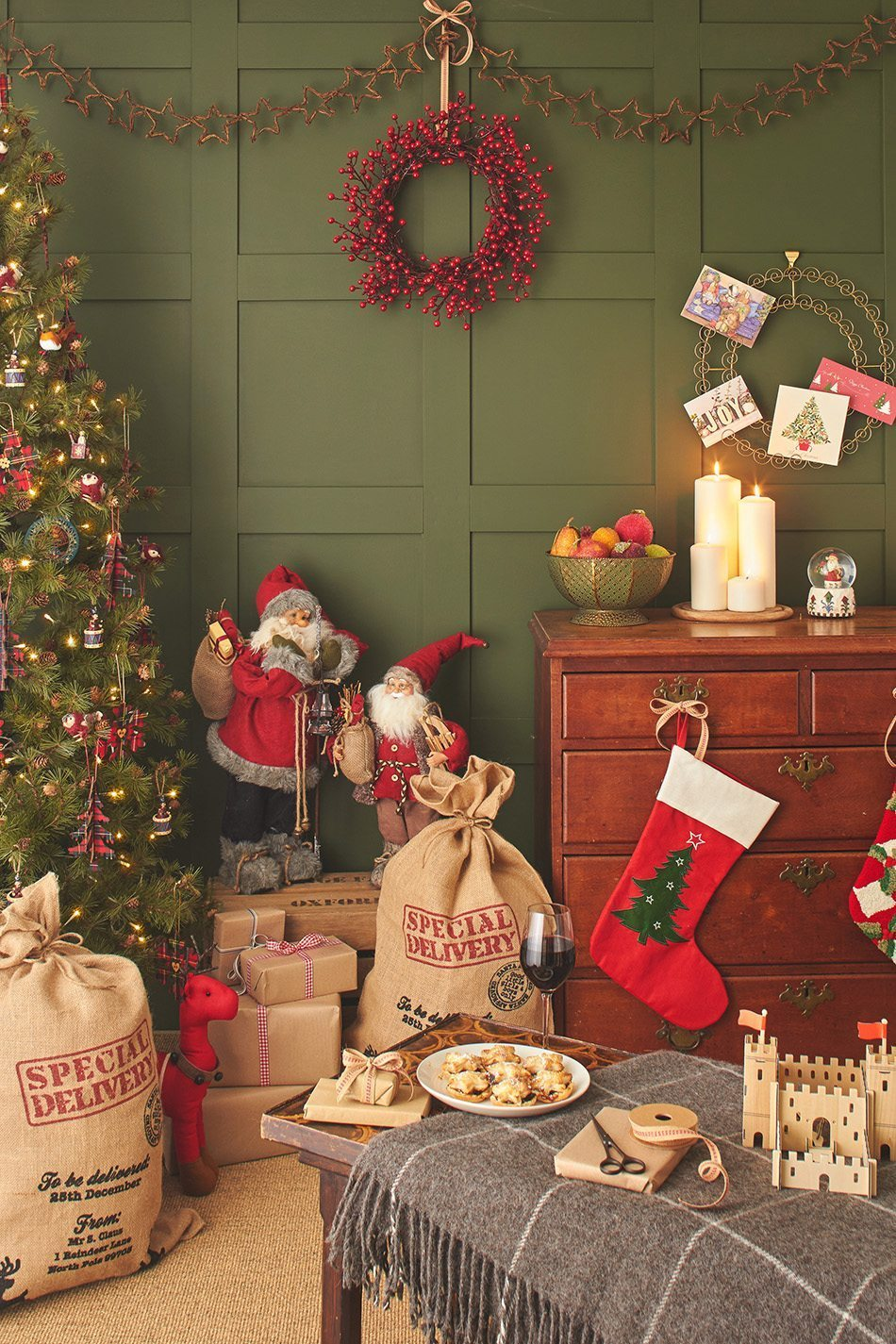 tendencias de decoración navideña Country Christmas House