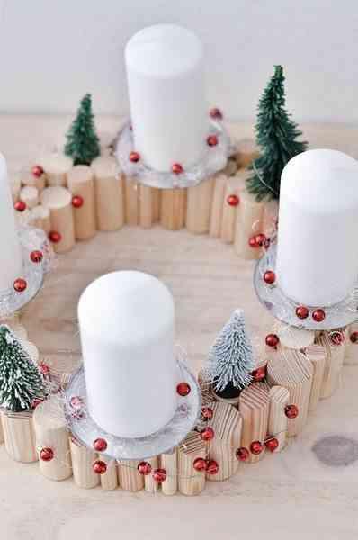 decoración con velas de Navidad dawanda portavelas cenital
