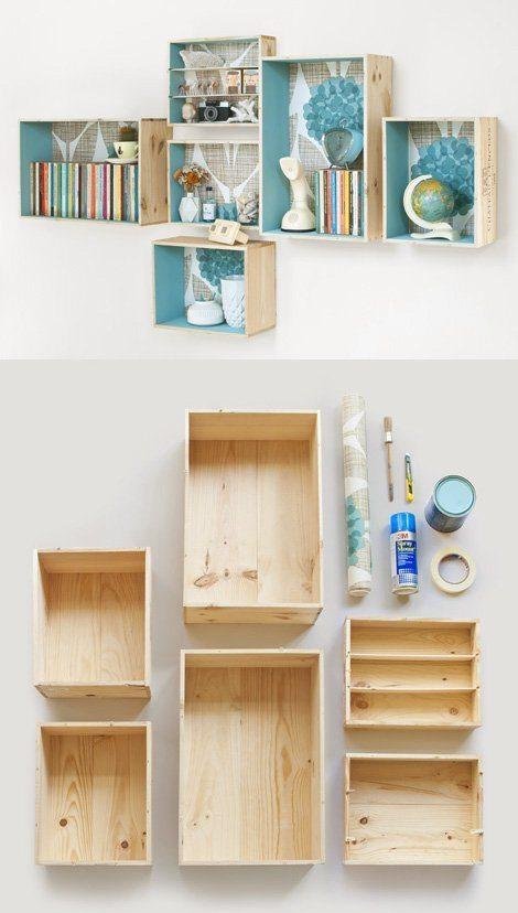 cajas como estanterías