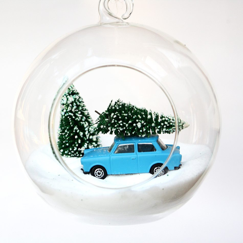 decoraciones originales de Navidad esfera coche azul