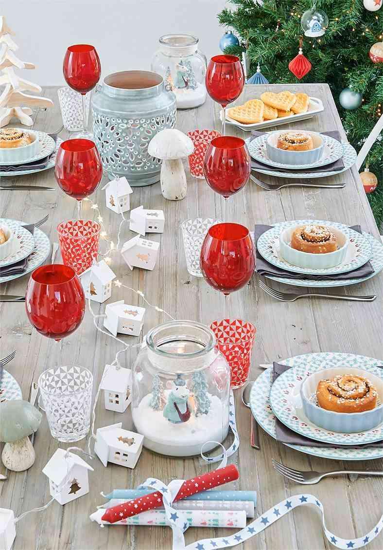mesas decoradas para Navidad maisons mesa rustico chic