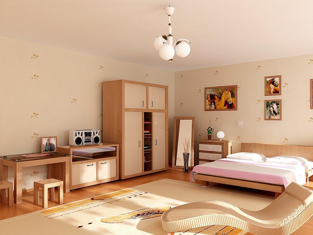 dormitorio en color beige, madera y rosa