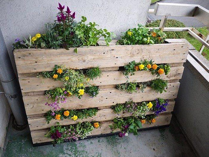 un jardín vertical hecho con palets