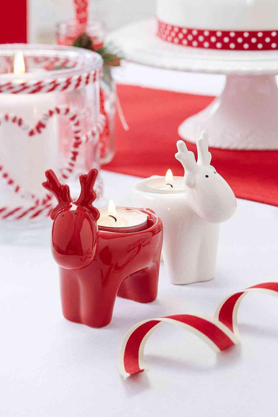 decoración con velas de Navidad tch portavelas reno