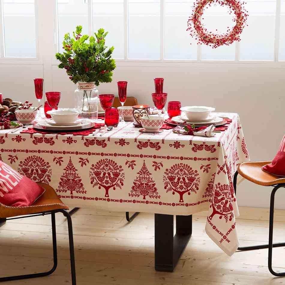 mesas decoradas para navidad zara rojo y blanco