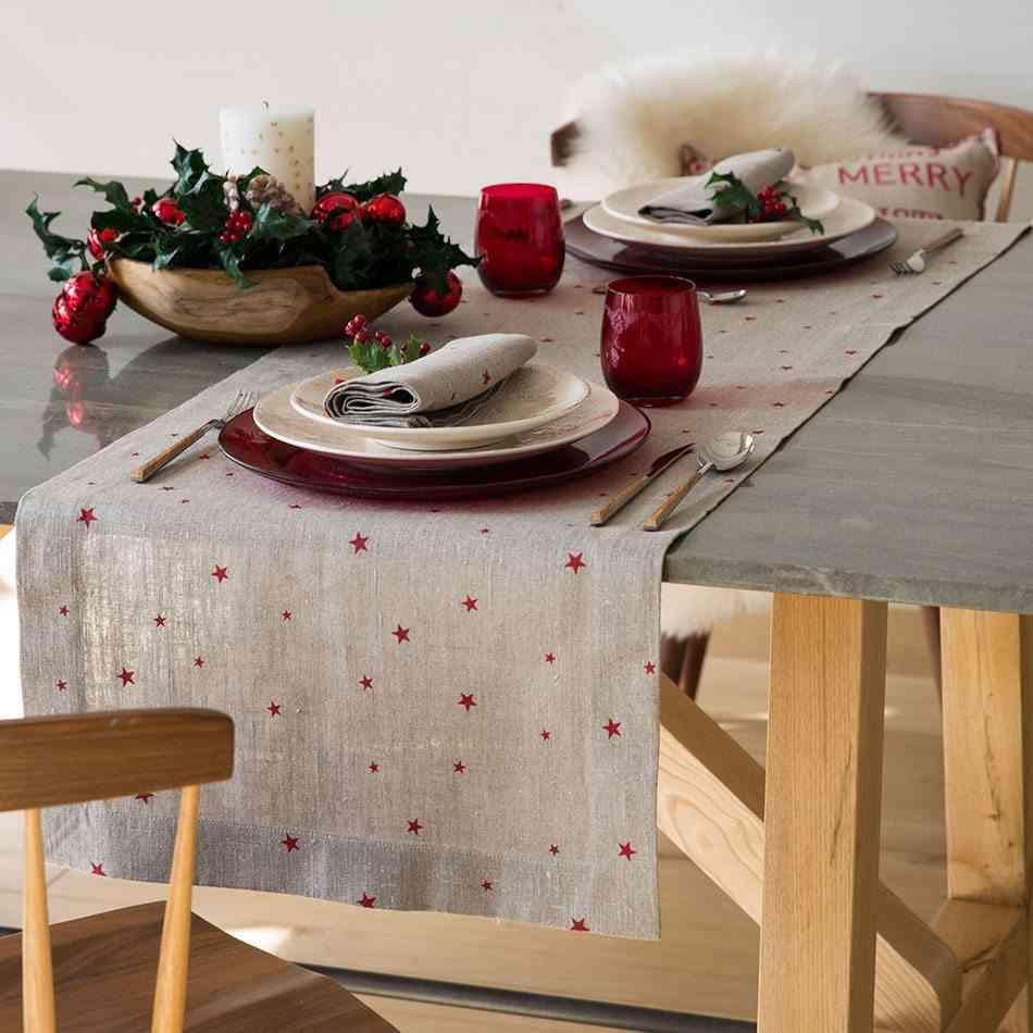 mesas decoradas para Navidad zara rustica y rojo