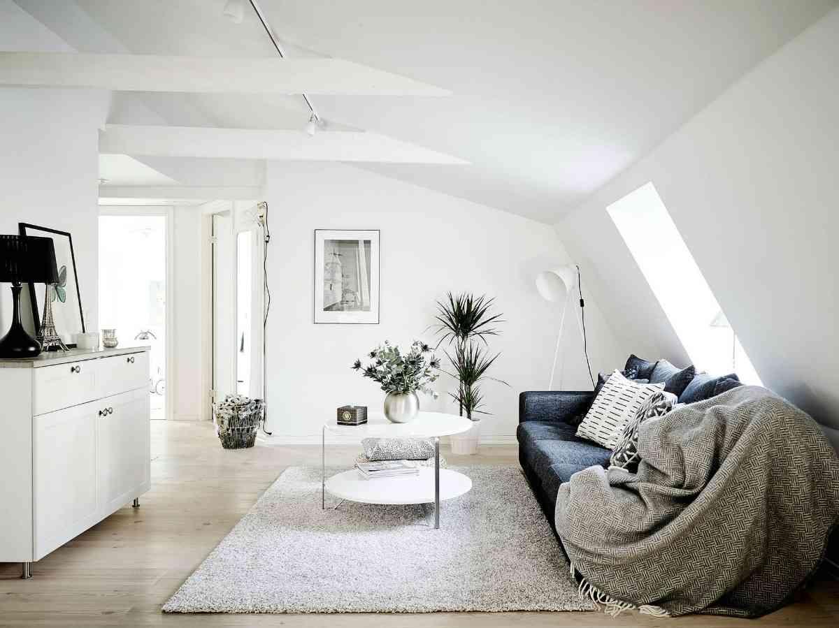 Ático de estilo nórdico zona salón 1200x899