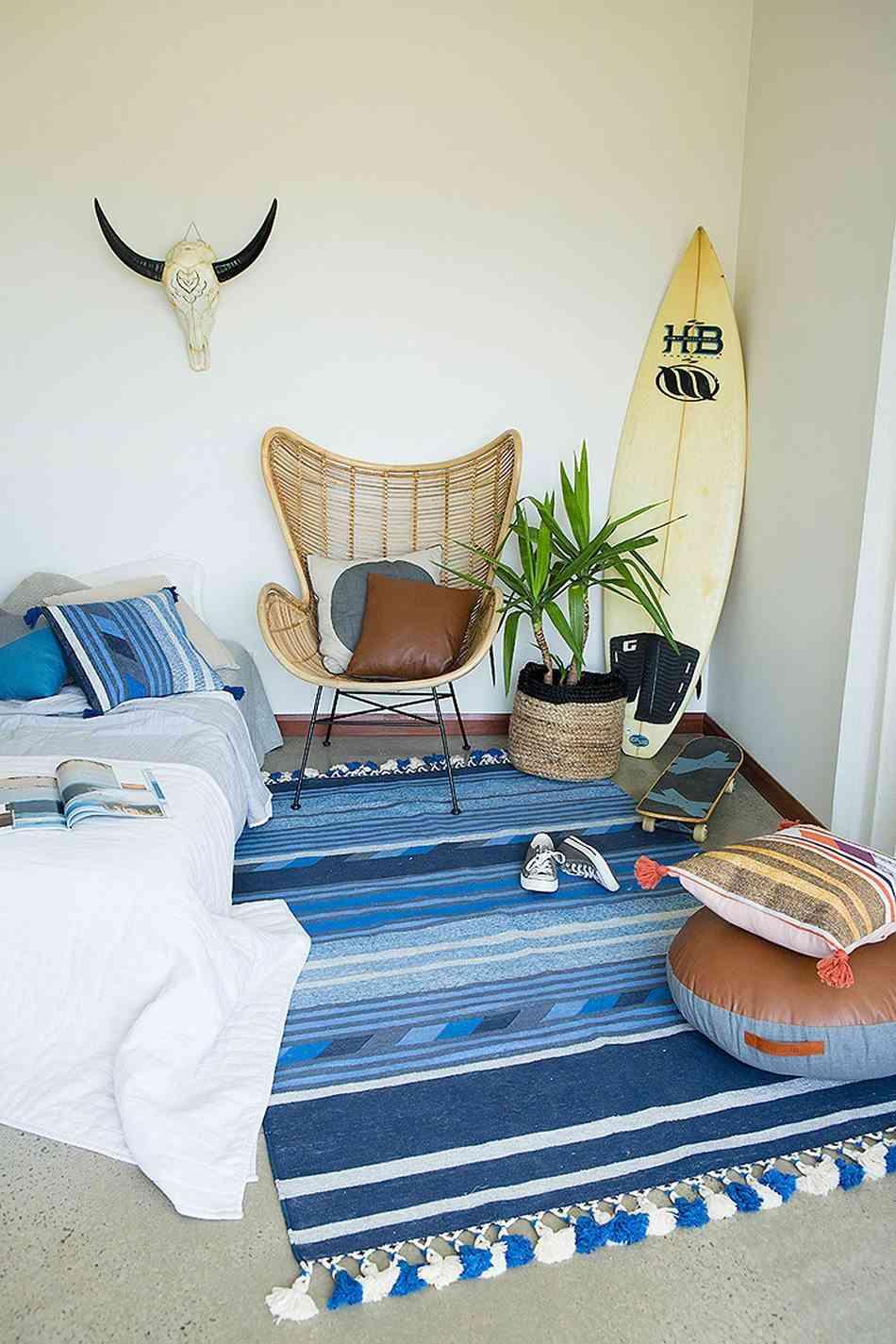 redecorar el dormitorio Alfombra azul