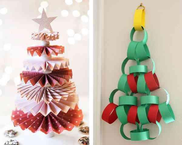 arbol de Navidad de cartulina rojo y verde