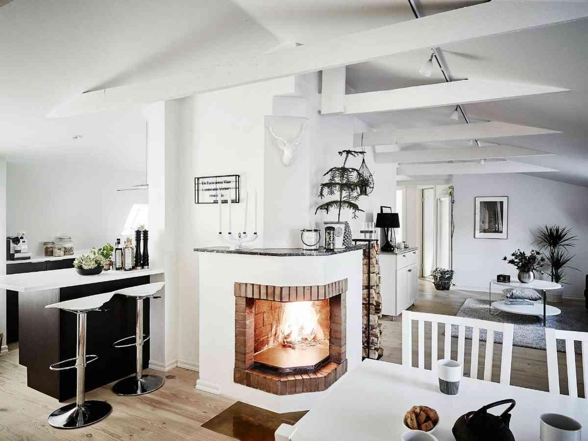 ático de estilo nórdico - vista salón cocina