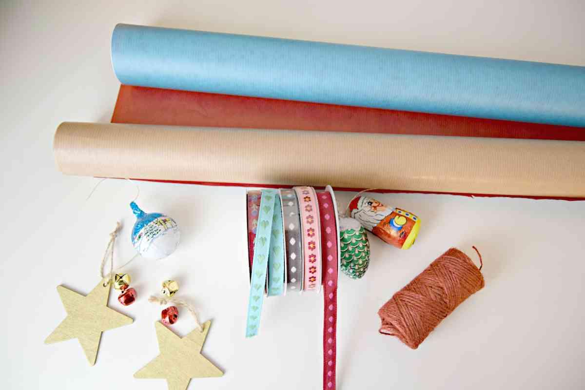 Como envolver regalos de Navidad - materiales