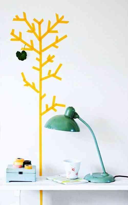 Decorar paredes con washi tape. Dibujito auxiliar mobiliario 500x798