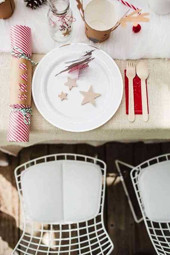 Decorar la mesa infantil en Navidad cubiertos