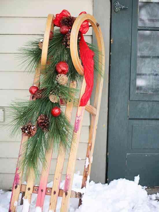 decorar puertas de Navidad trineo