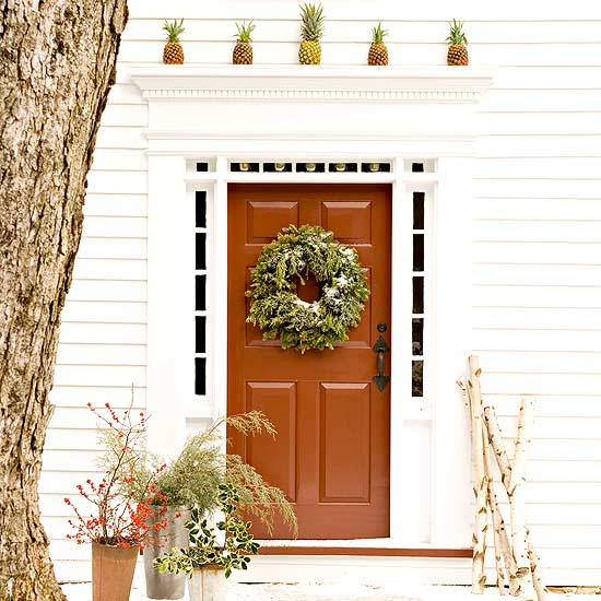 decorar puertas de Navidad tropical