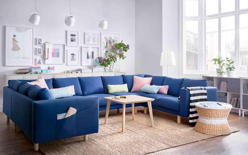 choose the big sofa blue Ikea sofa