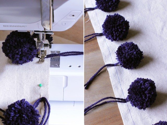 originales cojines con pompones coser a maquina