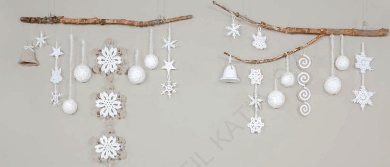 patrones de ganchillo para Navidad - campanas estrellas copos de nieve