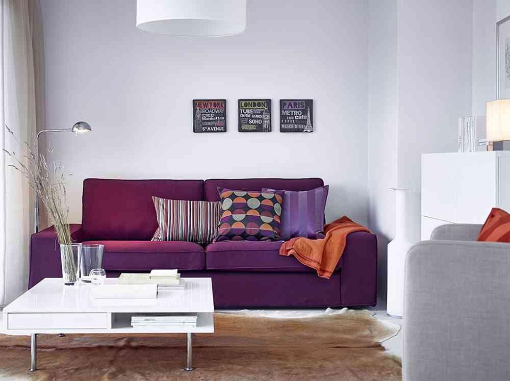 choose the ikea purple sofa
