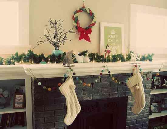 tutoriales de Navidad guirnalda chimenea