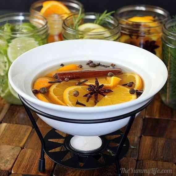 aromatizar y decorar la casa calentando citricos