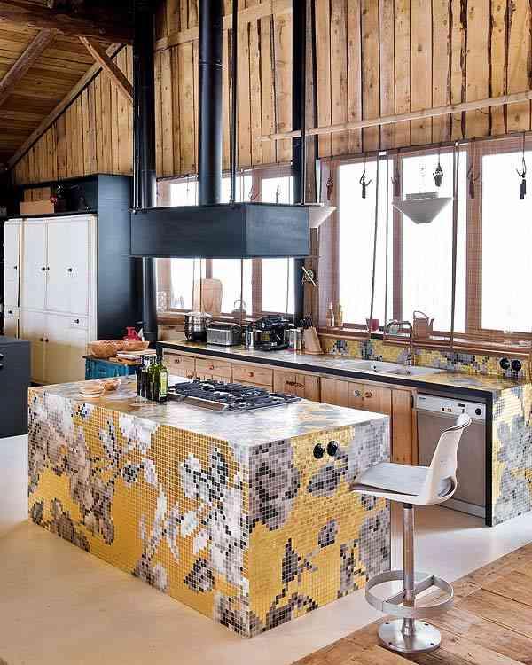 casa en los Alpes franceses cocina