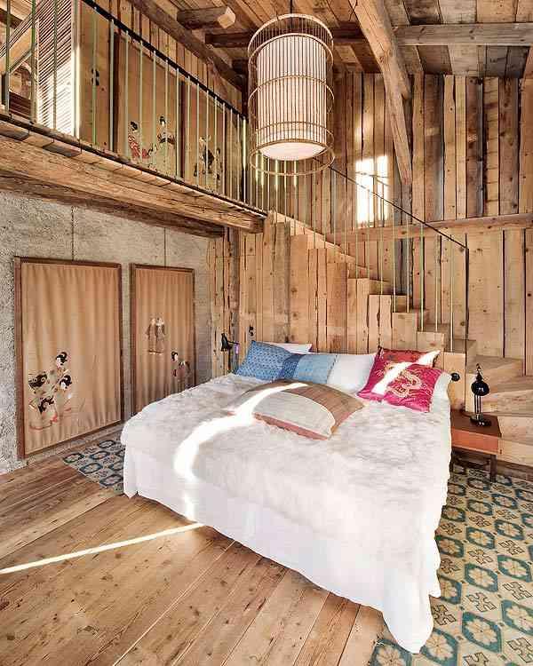 casa en los Alpes franceses dormitorio