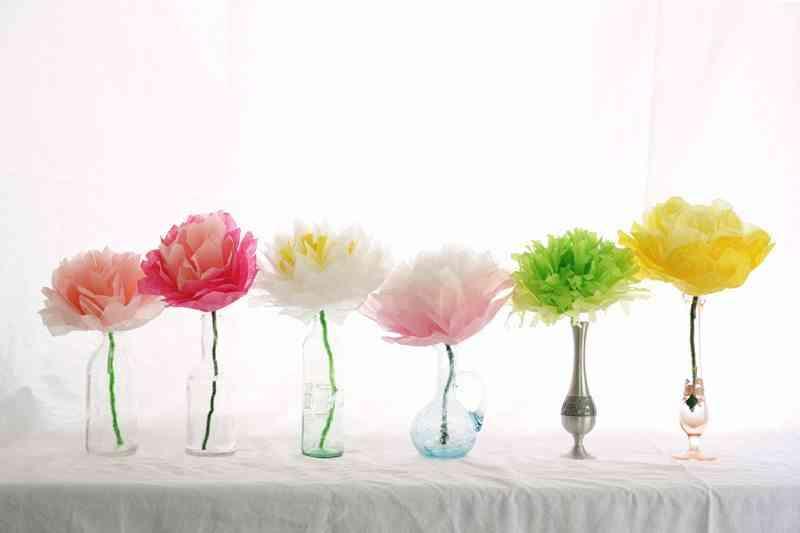 flores de papel - decorar con flores y plantas