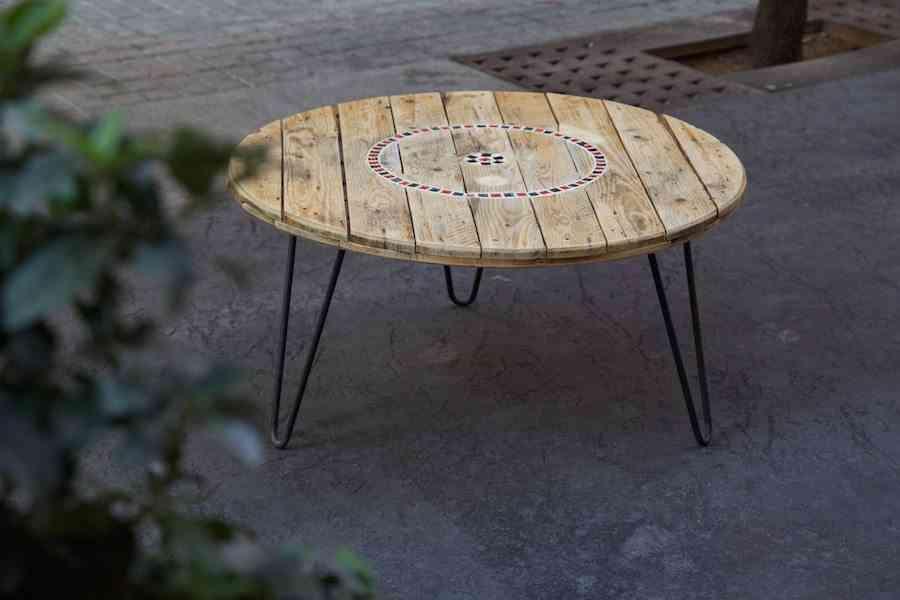 muebles de madera reciclada paletos mesa redonda