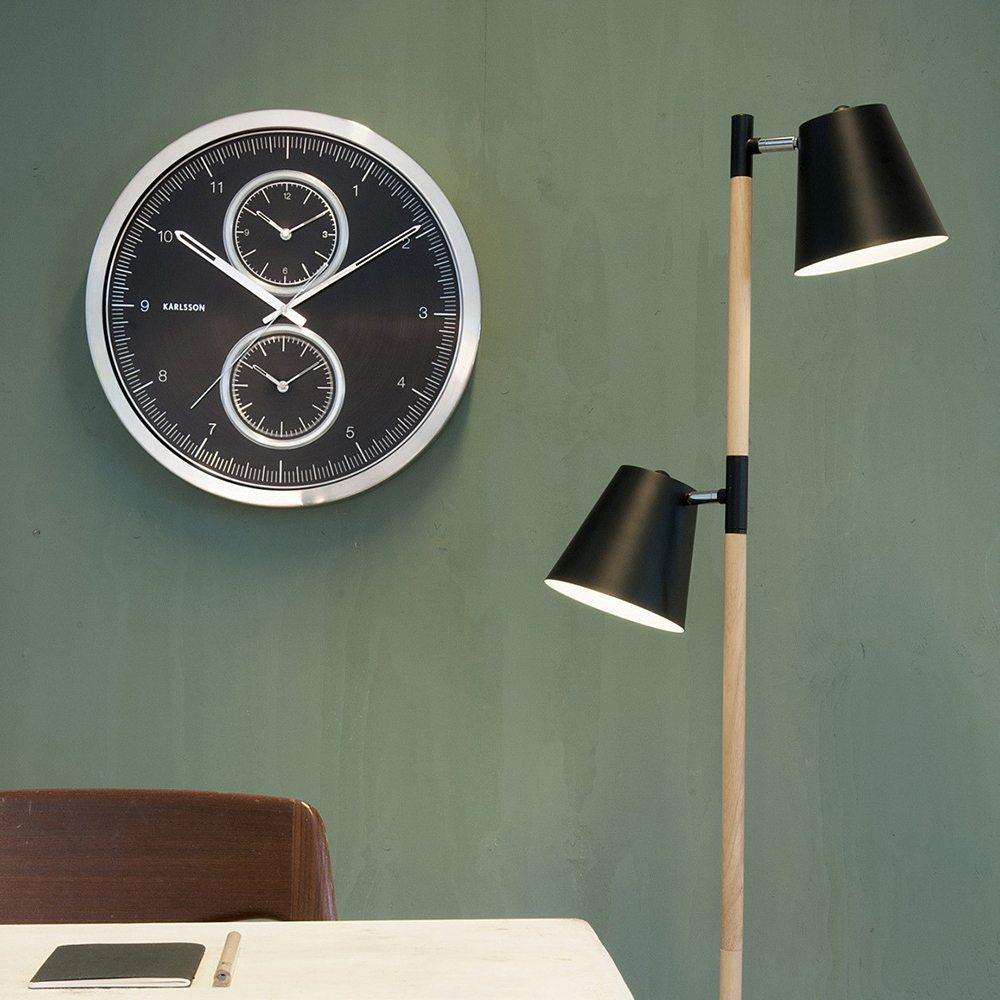 The sleek aluminium World Clock Multiple Time with black dial by Dutch company Karlsson is styled in a precision design like an oversized cronograh with a diameter of 50 cm (!). The clock allows you to keep track with various time zones. A main dial shows you the time for your home zone and smaller dials can be set for two further time zones of your choice. All three movements are silent sweep clockworks to ensure you are not disturbed by any unwanted noise.