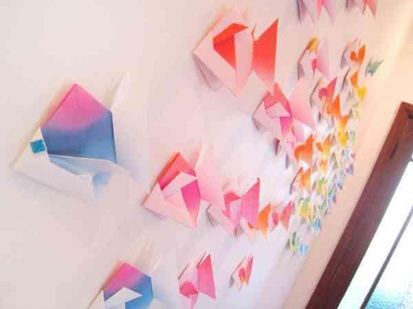 vinilos inspirados en el origami pared