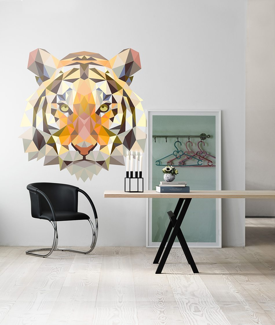 vinilos inspirados en el origami tigre