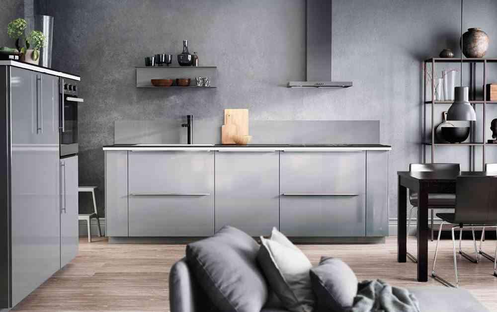 cocina abierta al salon ikea gris