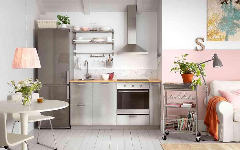 cocina abierta al salon ikea rosa