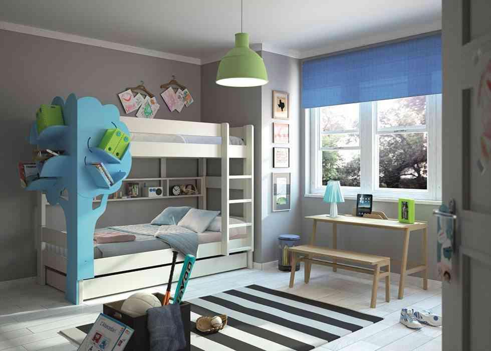 literas para dormitorios infantiles design 55 gris y azul