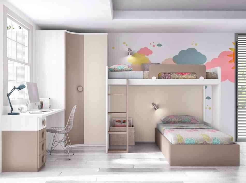 literas para dormitorios infantiles en perpendicular